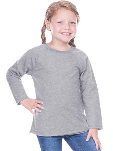 Kavio! Toddlers French Terry Crew Neck Raw Edge Raglan Long Sleeve Dark Heather Gray 5T