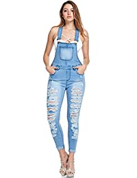 G-Style USA Women's Ripped Skinny Overalls