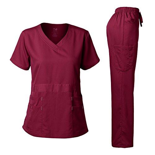 Women's Scrubs Set Stretch Ultra Soft V-NECK Top and Pants Burgundy S