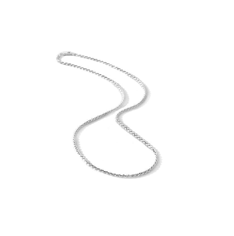 Italian Diamond Cut Rope Chain 1.8MM Wide-Nickel Free Necklace 925 Sterling Silver 7, 9, 10, 16, 18, 20, 22, 24, 30 & 36 with Lobster Claw Clasp. Thick and Luxurious. Package with Gift Box and Velvet Pouch 18 20 22 Milano Chains