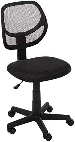 Amazon Basics Low-Back, Upholstered Mesh, Adjustable, Swivel Computer Office Desk Chair, Black