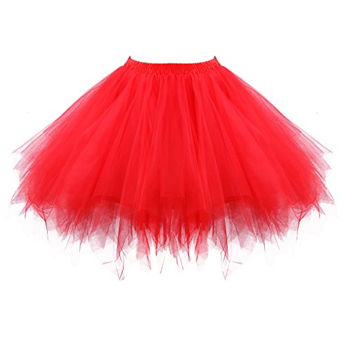 Acecharming Girl's Ballet Tutu Skirts Tulle Bubble Classic Prom Ball Layered Underskirt(Red