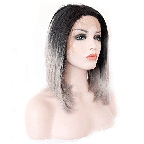 Grey Wig Straight Black Root Gray Ombre Synthetic Bob Lace Front Wigs ...