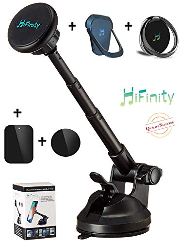 - New HiFinity 2in1: Magnetic Car Mount Arm + 2 Metal Finger-Rings Bundle. All Phones. Steady Aluminum Telescopic Long Arm Holder, Super Strong Magnet 6X, Powerful Grip to Windshield, Dashboard/Desk
