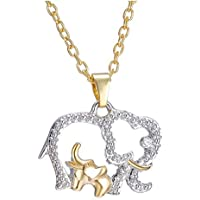 Chic Mothers Day Crystal Elephant Pendant Necklace Chain Charm Gift for her Mom