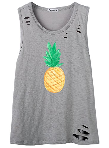 So'each Women's Cute Pineapple Fruit Graphic Hole Tee T-Shirt Cami Tank Top