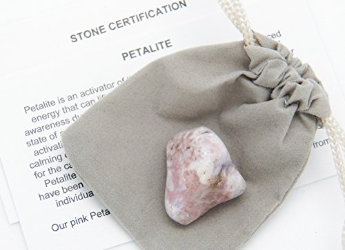 Fundamental Rockhound Products: Petalite from Namibia Tumbled Stone Gemstone Crystal with Carrying Pouch, info Card, Stone Certification (Medium)