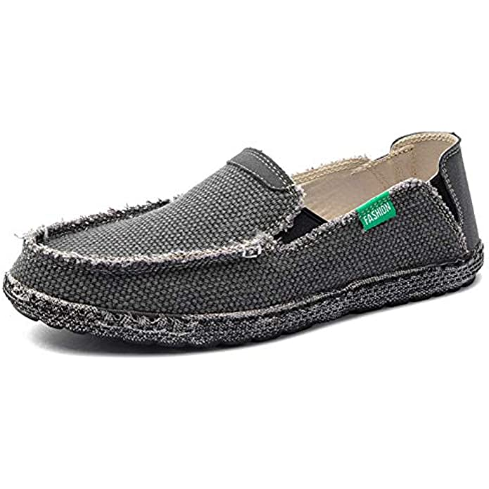 JAMONWU Mens Canvas Shoes Slip on Deck Shoes Casual Cloth Boat Shoes Non Slip Casual Loafer Flat Outdoor Sneakers