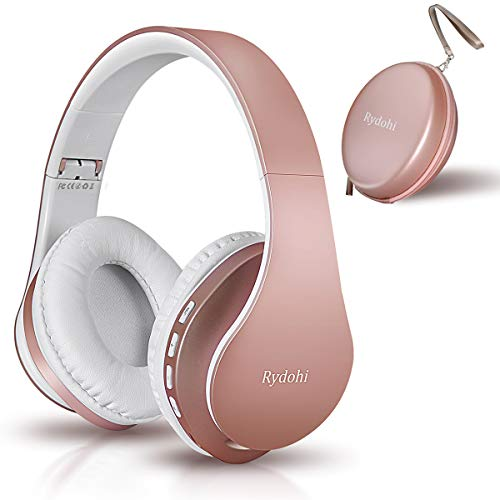 Bluetooth Headphones Over Ear, Rydohi Wireless and Wired Stereo Headset V5.0 with Built-in Mic, Support SD/TF, FM Radio and MP3,Foldable & Lightweight for Cell Phones PC TV Travel (Rose Gold)