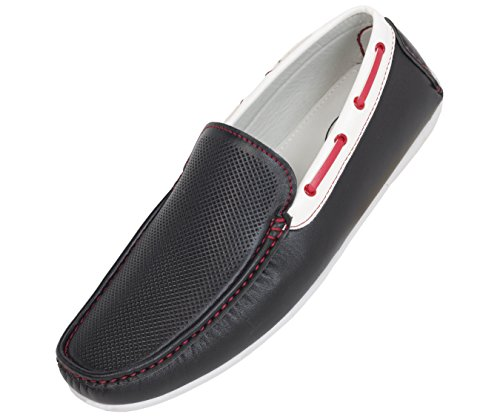 Amali Mens Driving Moccasin Loafer in Black Perforated Smooth with White and Black Interlacing Casual Shoe: Style 1465 Black-000 8.5 D (M) US