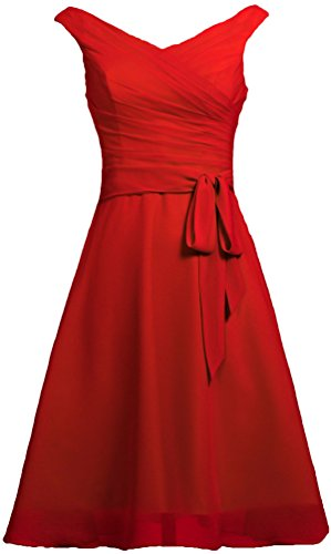 ANTS Women's Chiffon V Neck Tank Short Prom Bridesmaid Dresses with Sash Size 26W US Red (Red Bridesmaid Dresses Size 26)