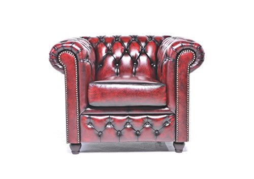 Original Chesterfield Chair - 1 Seater - Full Real Hand Washed Leather -  Antique Red - Amazon.com: Original Chesterfield Chair - 1 Seater - Full Real Hand