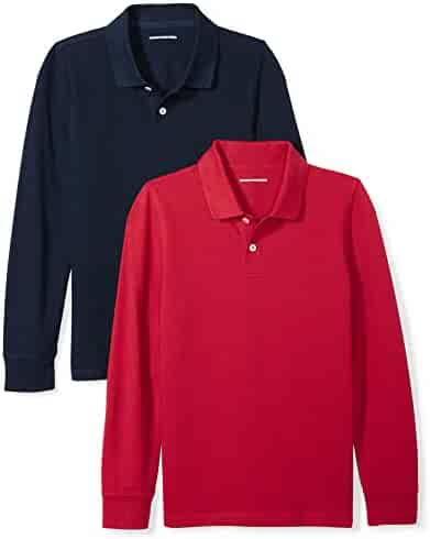 Amazon Essentials Boys' 2-Pack Long-Sleeve Pique Polo Shirt