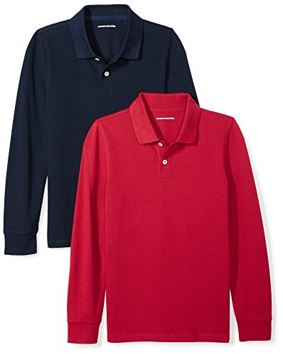 Amazon Essentials Big Boys' 2-Pack Long-Sleeve Pique Polo Shirt, Red/Navy, M (8) - Kids Long Sleeve Polo