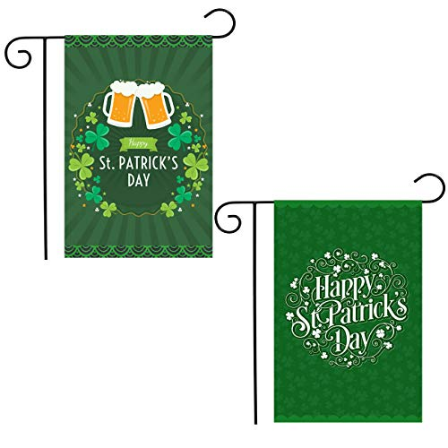 Shmbada St Patrick's Day Garden Flag Double Side, Outdoor Lawn Yard Decoration, Irish Shamrock Background Holiday Lanes Green Beer Accessories, 12 X 18 Inch ()