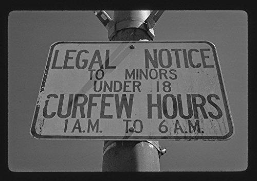 Vintography 8 x 12 BW Photo of: Curfew hours sign, Wildwood, New Jersey 1978 Roadside America Margolies, John, 92h
