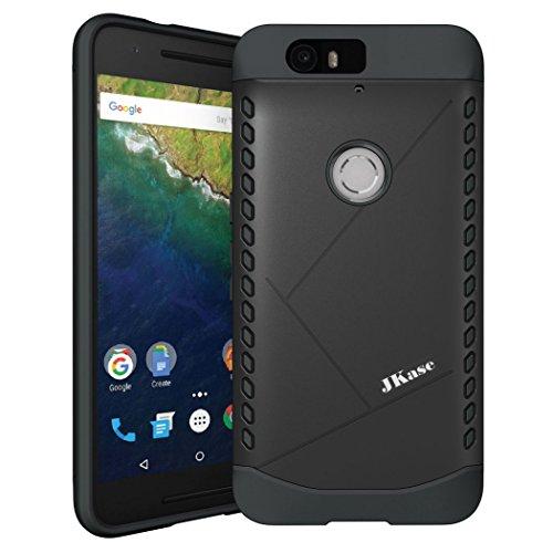 JKase CANVAS Slim Protective Dual Layer Armor Case Cover for Huawei Nexus 6P (Black)
