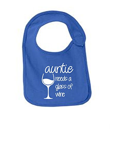 Auntie Needs A Glass Of Wine Funny Infant Jersey Bib Royal One (Jersey Boy Wine)