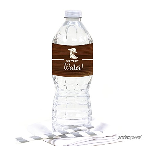 Andaz Press Birthday Water Bottle Labels Stickers, Cowboy Boots, 20-Pack, For Decor Decorations Dessert Table Wraps