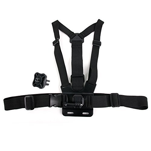 Black Fully Adjustable Chest Strap Mount With Screw Adaptor Compatible with the Camsports Evo 1080 Pro by DURAGADGETの商品画像