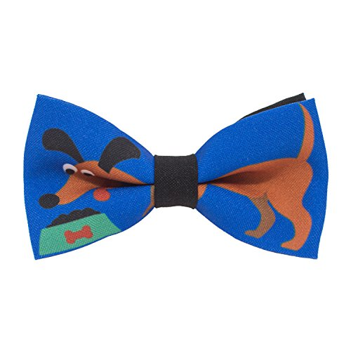 Dachshund pattern bow tie unisex pre-tied blue color, by Bow Tie House