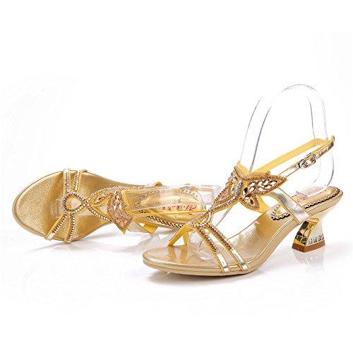 mujer Dorado tacón Zapatos de dorado Unicrystal 0RtAA