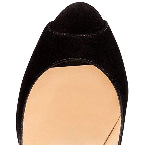Merumote Delle Donne Scarpe Piattaforma Tacchi Alti Peep Toe Pompe Per La Festa Nuziale Vestito Camoscio Nero