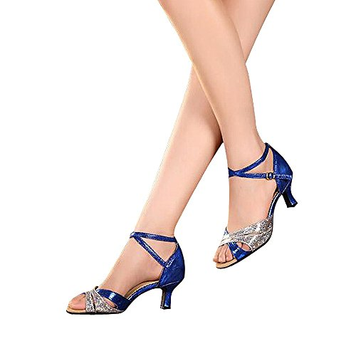 Women's Latin dance shoes with soft sole female Latin sandals Ballroom Dance Shoes (10 B(M) US, blue)