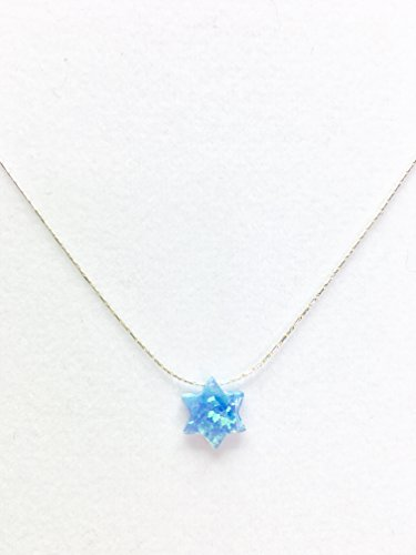 (Blue Opal Jewish Star Necklace + 925 snake sterling silver chain, 14'-16