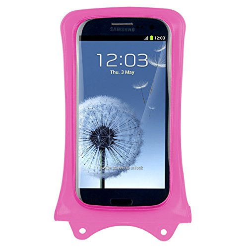 DiCAPac WP-C1 Universal Waterproof Case for Huawei Ascend G610/G610S/G615/G620s/G630/G700/G740 in Pink (Double Velcro Locking System; IPX8 Certified Underwater Protection up to 10M; Built-in Airbag Floats & Protects Device; Super Clear Polycarbonate Photo Lens; Included Neck Strap)