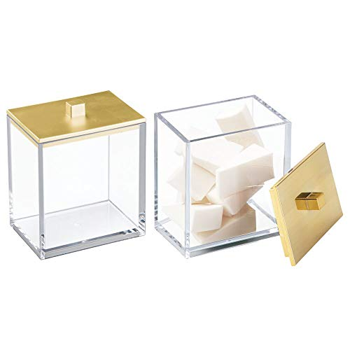 (mDesign Modern Square Bathroom Vanity Countertop Storage Organizer Canister Jar for Cotton Swabs, Rounds, Balls, Makeup Sponges, Bath Salts - 2 Pack - Clear/Gold)