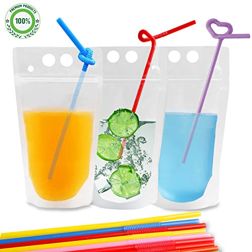 (Drink Pouches Bags, 100 Pcs Zipper Plastic Pouches Drink Bags with Straws, Heavy Duty Hand-Held Translucent Frosted Reclosable Stand-up Bag Candy Straws Bag)