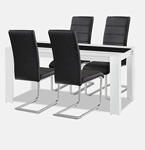Allegro Esstisch + Stuhlset : 1 x Esstisch Jamaika + 4 Freischwinger schwarz