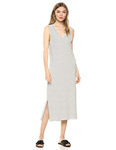 Amazon Brand - Daily Ritual Women's Supersoft Terry Sleeveless V-Neck Midi Dress, White-Black Skinny Stripe, X-Large