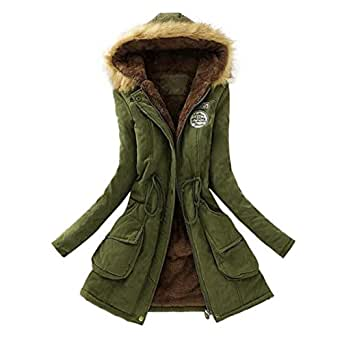 Gillberry Women's Jacket Women's Jacket Warm Long Coat Hooded Slim Winter Outwear Tops For Small Army Green