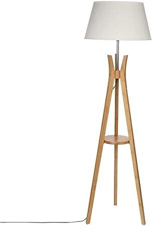 Lampadaire trépied avec tablette Esprit industriel Pied en bois et abat jour BLANC CASSE