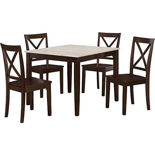 DLG Hillside Rustic 5-Piece Dining Set, Rustic Wood/Espresso, gorgeous rustic weathered wood look table top that rests on an espresso finished table frame, Dimensions L x W x H 38.00x38.00x 0.00
