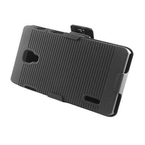 Eagle Cell Rubber Case with Stand and Holster for LG Optimus F7 - Retail Packaging - Black (Lg Optimus F7 Rubber Phone Case)
