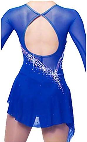 SISHUINIANHUA LBFBRR Robe de Patinage Artistique Femme Fille Robe de Patinage Bleu de Minuit Soie Spandex Haute /élasticit/é Mosa/ïque Classique Strass