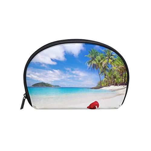 Makeup Bag Tropical Island Beach Palm Tree Christmas Cosmetic Pouch Clutch