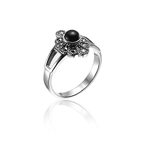 Chuvora 925 Oxidized Sterling Silver Marcasite Black Onyx Marquise Ring Size 8 - Nickle Free