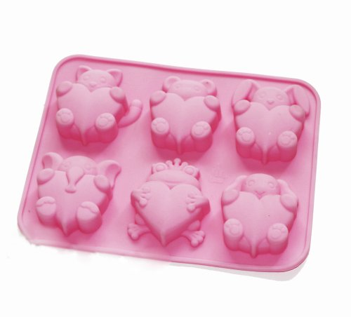 X-Haibei Frog Elephant Animal Heart Silicone Soap Mold Valentines Gift Baby Shower Favor