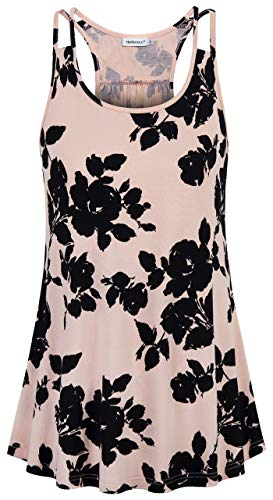 (Helloacc Tank Tops for Women,Cute Scoop Neck Bohemian Exotic Square Cami Shirts Summer Lightweight Sleeveless Office Blouses Pullover Go-Out Basic Wear Loose Casual Pleated Halter Tops Pink Black)