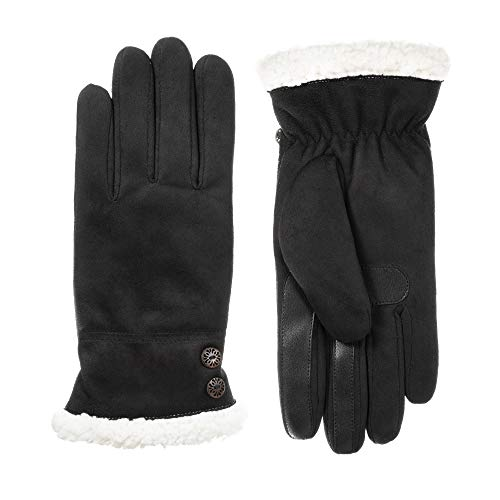 Isotoner Women's Microfiber Touchscreen Gloves w/Water Repellent Technology, Black, S/M