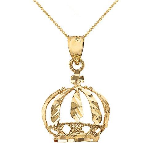Royal 14k Yellow Gold Crown Charm Pendant Necklace, 16