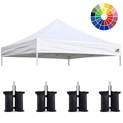 Eurmax New 10x10 Pop Up Canopy Replacement Canopy Tent Top Cover, Instant Ez Canopy Top Cover ONLY, Choose 30 colors,Bonus 4PC Pack Canopy Weight Bag (White)