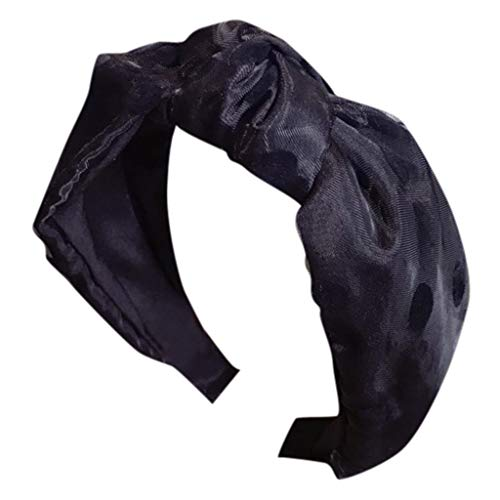 (Mesh Polka Dot Head Hoop Knotted Turban Headband Hair Band for Women (B))
