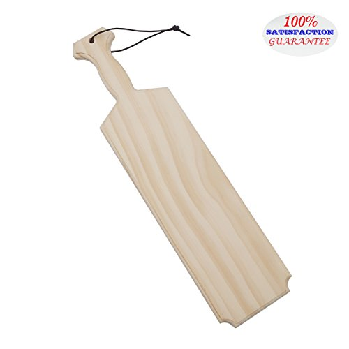 "Yonor 17.5 inch Middle Size Unfinished Wooden Fraternity / Sorority Paddle, Solid Pine Wooden Spanking Paddle, Home / Official Greek Square Crafting Paddle With Hanging Rope (Middle:17.5"", Natural)"
