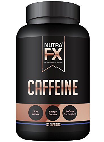 NutraFX Caffeine Pills 200mg Natural Energy and Focus Stimulant Stay Awake Pills 100% Pure Anhydrous Caffeine Powder | Energy Booster Mental Alertness and Thermogenic Fat Burner (60 Capsules)