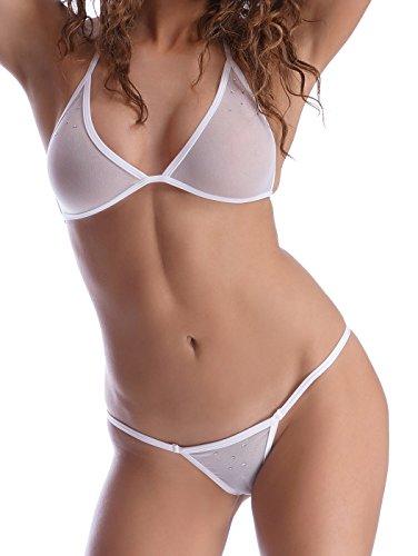 Stringa nylon con strass in bianchi CCw8r
